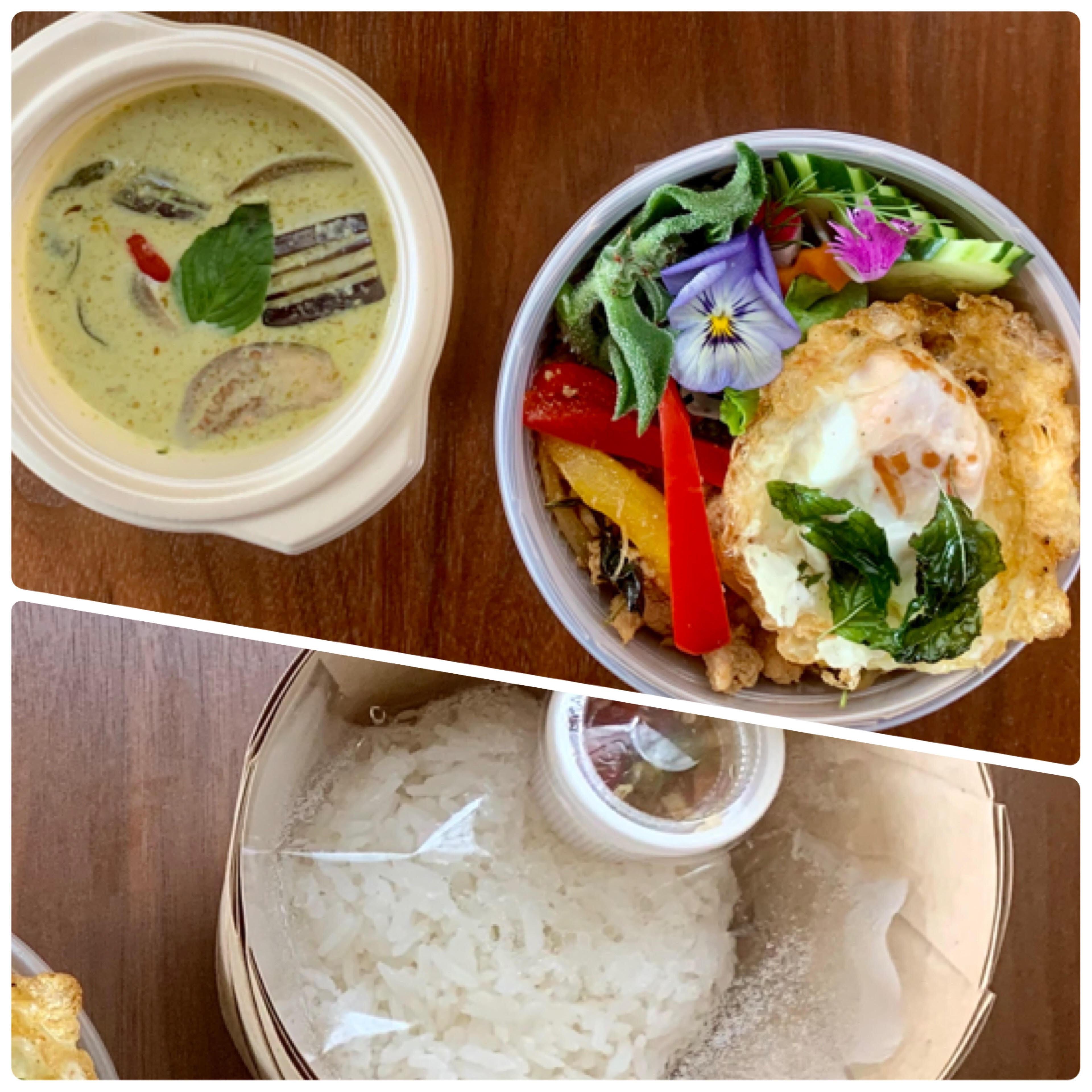 淡路島産地鶏のガパオライスと1/2特製グリーンカレー